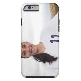 jugador de fútbol adolescente sonriente del chica funda resistente iPhone 6