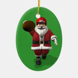 Jugador de fútbol americano de Papá Noel Ornamento Para Arbol De Navidad