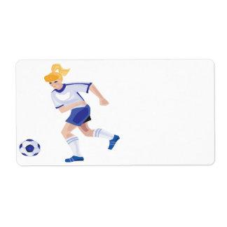 Jugador de fútbol de sexo femenino etiquetas de envío