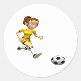 Jugador de fútbol de sexo femenino pegatinas redondas
