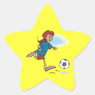 Jugador de fútbol de sexo femenino pegatinas forma de estrella