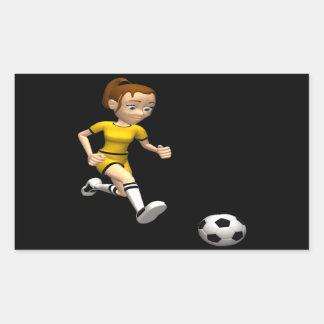 Jugador de fútbol de sexo femenino pegatina rectangular