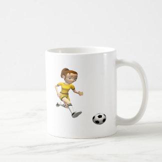 Jugador de fútbol de sexo femenino tazas de café