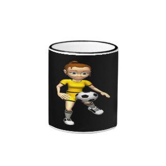 Jugador de fútbol de sexo femenino taza de café