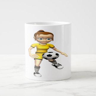 Jugador de fútbol de sexo femenino tazas extra grande