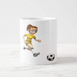 Jugador de fútbol de sexo femenino taza extra grande