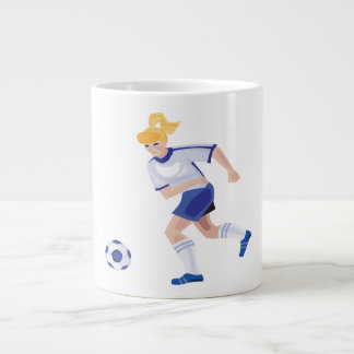 Jugador de fútbol de sexo femenino tazas jumbo