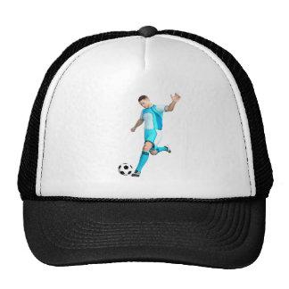 Jugador de fútbol en aguamarina y blanco gorros