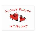 Jugador de fútbol en el corazón postal