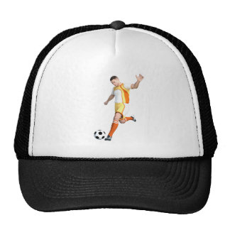Jugador de fútbol en naranja, amarillo, y blanco gorras de camionero