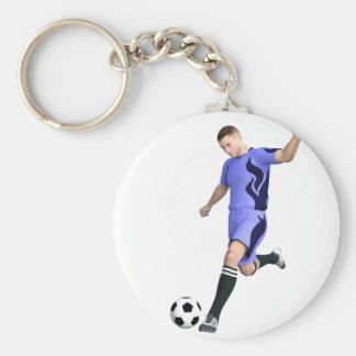 Jugador de fútbol en púrpura y blanco llavero redondo tipo pin