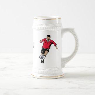 Jugador de fútbol jarra de cerveza