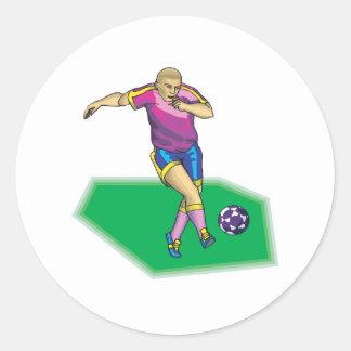 Jugador de fútbol etiqueta redonda