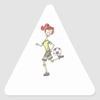 Jugador de fútbol pegatina triangular