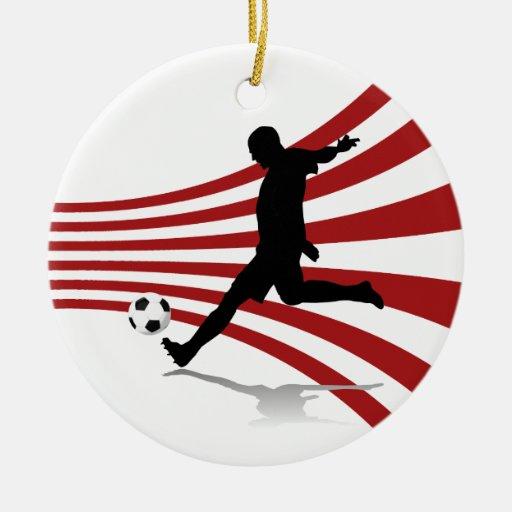Jugador de fútbol rojo y blanco adorno redondo de cerámica