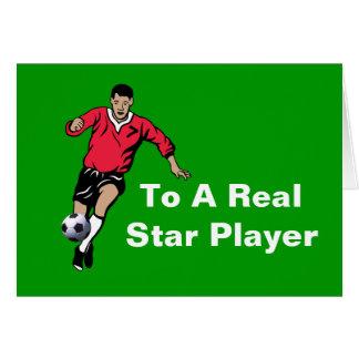 Jugador de fútbol tarjeta de felicitación