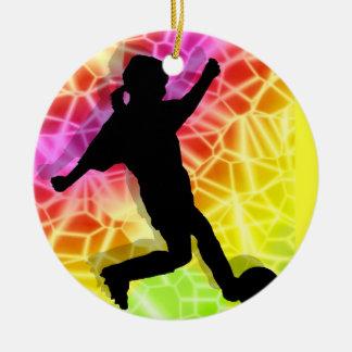 Jugador de fútbol y mosaico fluorescente adorno de reyes