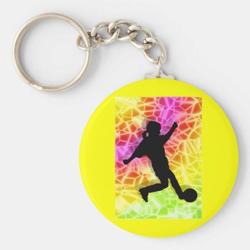Jugador de fútbol y mosaico fluorescente llaveros personalizados