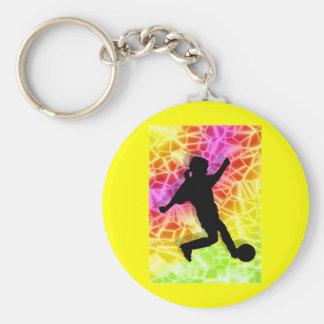Jugador de fútbol y mosaico fluorescente llavero redondo tipo pin
