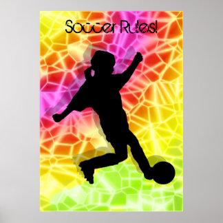 Jugador de fútbol y mosaico fluorescente posters