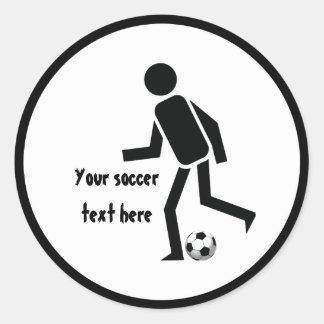 Jugador de fútbol y regalo del personalizado de la etiqueta redonda