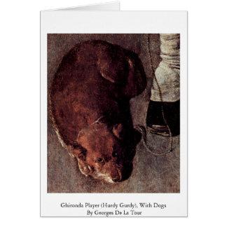 Jugador de Ghironda (Hurdy Gurdy), con los perros Tarjeta De Felicitación
