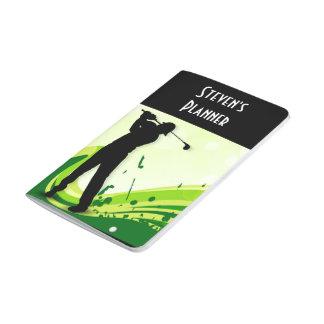 Jugador de golf artsy cuaderno grapado