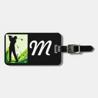 Jugador de golf artsy etiqueta de equipaje