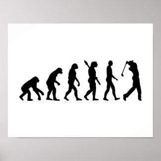 Jugador de golf de la evolución póster