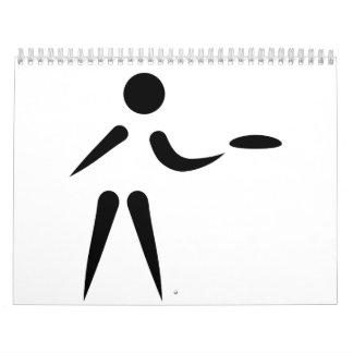 Jugador de golf del disco calendario de pared