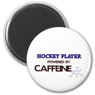 Jugador de hockey accionado por el cafeína imán redondo 5 cm