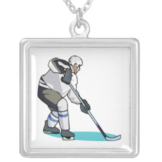 Jugador de hockey colgante cuadrado