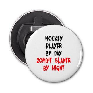 Jugador de hockey del asesino del zombi abrebotellas redondo