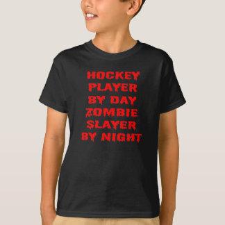 Jugador de hockey del asesino del zombi del día playera