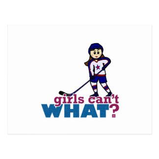 Jugador de hockey del chica tarjetas postales