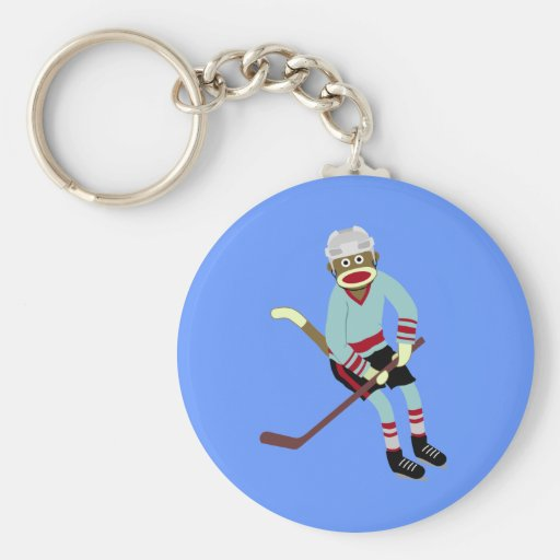 Jugador de hockey del mono del calcetín llavero redondo tipo pin