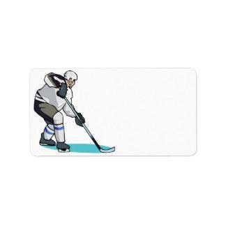 Jugador de hockey etiquetas de dirección