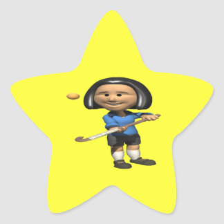 Jugador de hockey hierba 2 pegatina en forma de estrella
