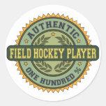 Jugador de hockey hierba auténtico etiquetas redondas