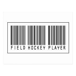 Jugador de hockey hierba del código de barras tarjeta postal