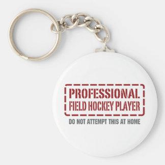 Jugador de hockey hierba profesional llavero redondo tipo pin