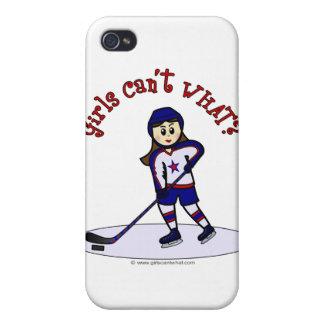 Jugador de hockey ligero de los chicas iPhone 4/4S fundas