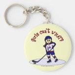 Jugador de hockey ligero de los chicas llavero redondo tipo pin