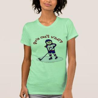 Jugador de hockey ligero de los chicas tshirts