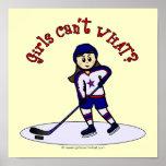 Jugador de hockey ligero de los chicas póster
