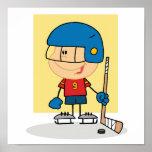 Jugador de hockey lindo del niño póster