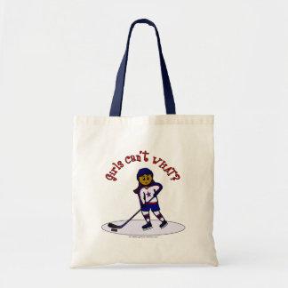 Jugador de hockey oscuro de los chicas bolsa tela barata