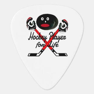 Jugador de hockey para el dibujo animado de la uñeta de guitarra