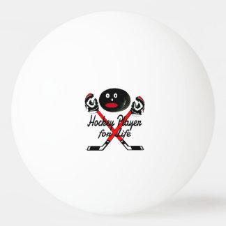 Jugador de hockey para el dibujo animado de la pelota de tenis de mesa