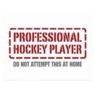 Jugador de hockey profesional tarjeta postal
